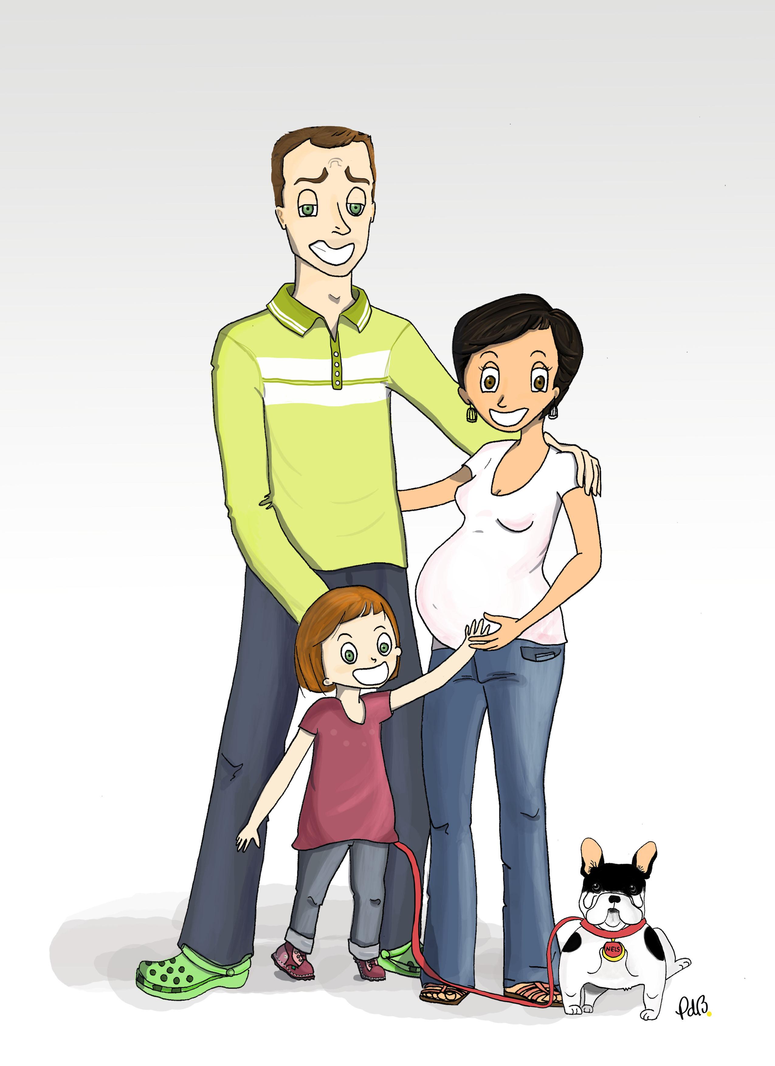 illustration pour décoration de chambre d'enfant, portrait de famille